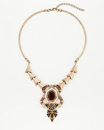 Metal Geometric Bib Necklace