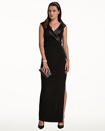Knit Satin Collar Gown