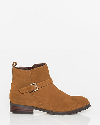 Suede Almond Toe Ankle Bootie