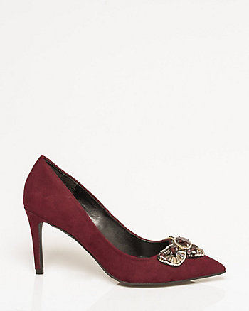 Jewel & Suede-Like Pointy Toe Pump