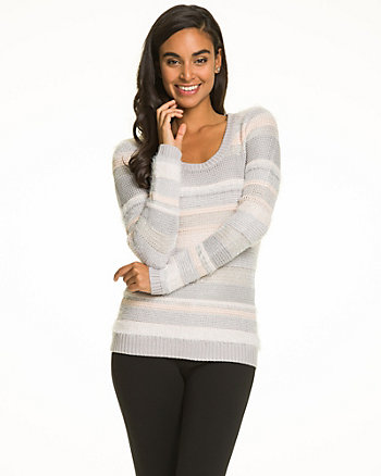 Stripe Acrylic Blend Scoop Neck Sweater