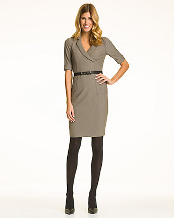 Knit V-Neck Shirtdress