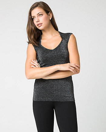 Metallic Viscose Blend Sweetheart Sweater