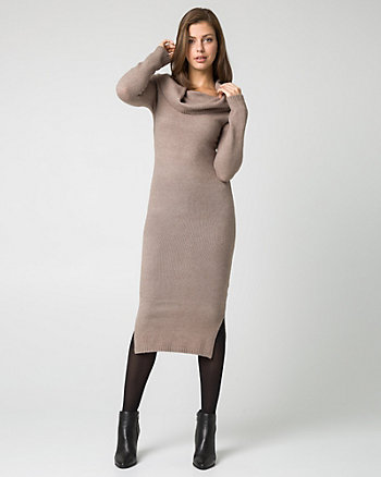 Bouclé Knit Fold Over Sweater Dress