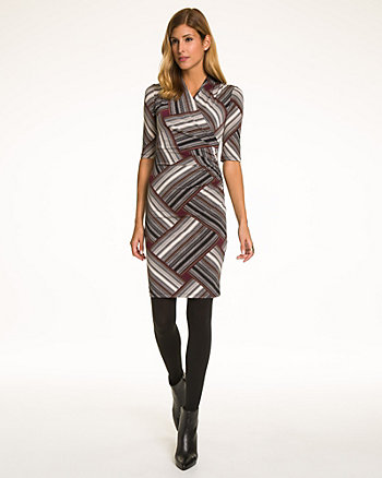 Patchwork Print Knit Faux Wrap Dress