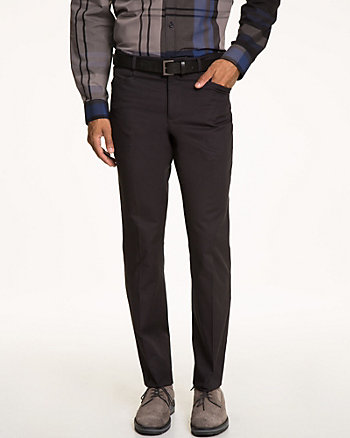Cotton Blend Slim Fit Belted Pant