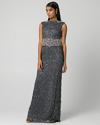 Sequin & Lace Boat Neck Gown