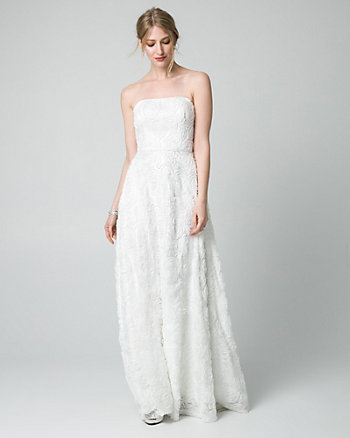 Soutache Lace Strapless Gown