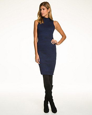 Space Dye Ponte Mock Neck Midi Dress