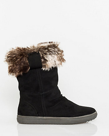 Faux Suede Mid Calf Boot