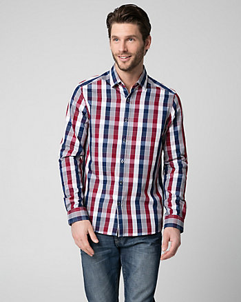 Check Print Cotton Blend Shirt