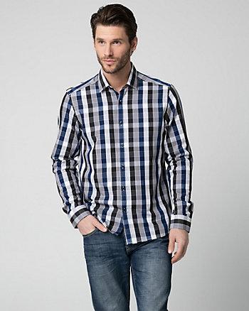 Check Print Cotton Blend Shirt