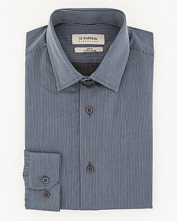 Stripe Cotton Blend Slim Fit Shirt