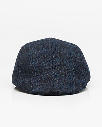 Check Print Flannel Cabbie Hat