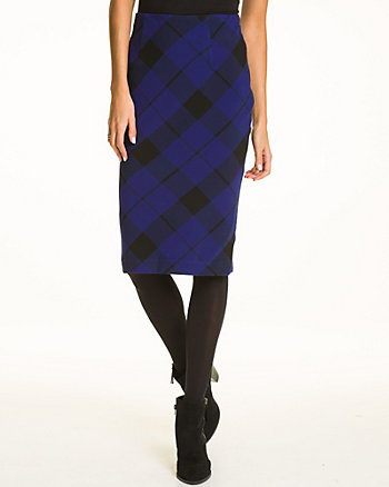 Plaid Print Double Weave Midi Skirt