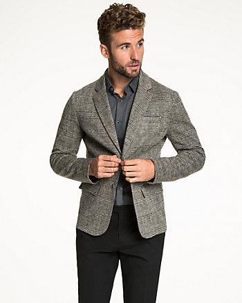 Check Print Wool Blend Blazer
