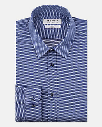 Tonal Cotton Blend Slim Fit Shirt