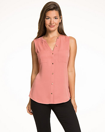 Matte Twill Button-Front Blouse