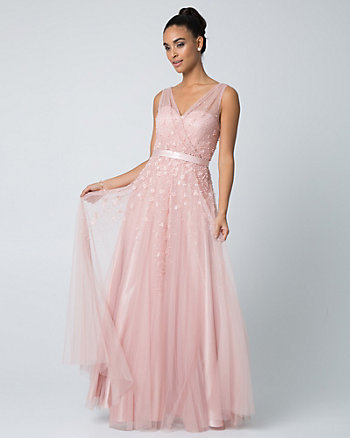Beaded Tulle V-Neck Gown