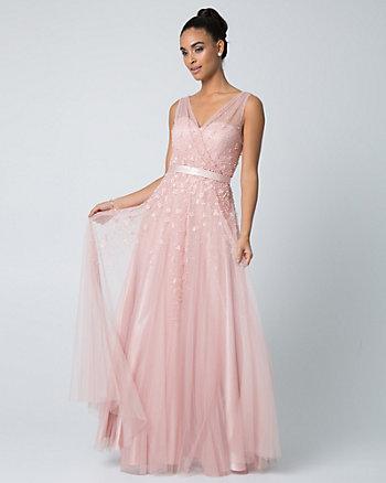 Beaded Tulle V-Neck Gown