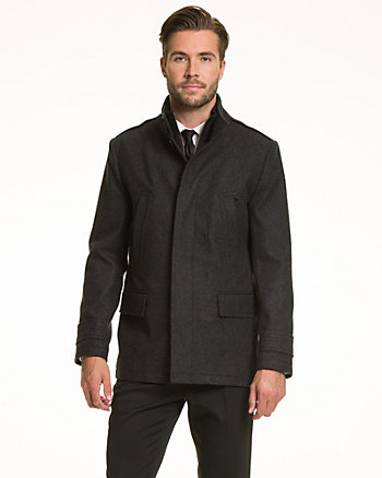 Wool Blend Melton Peacoat