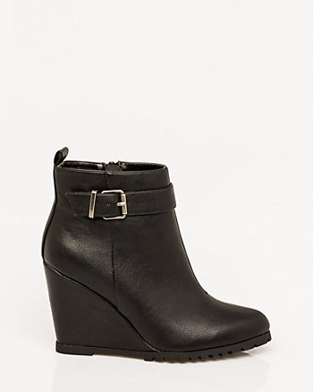 Leather-Like Wedge Bootie
