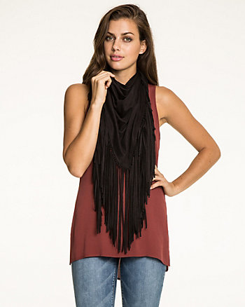 Faux Suede Fringe Scarf