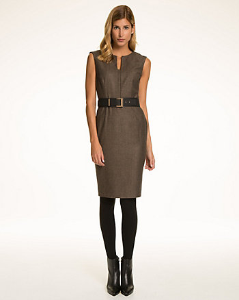 Herringbone Wool Blend Belted Shift Dress