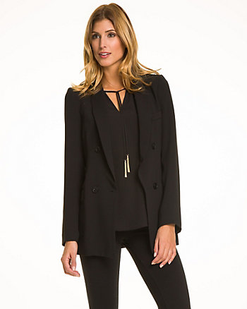 Tricoteen Notch Collar Belted Blazer
