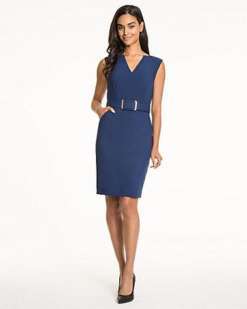 Double Weave V-Neck Belted Dress