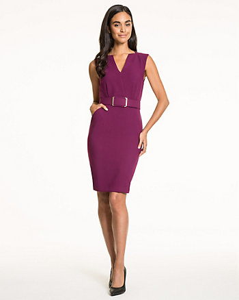 Double Weave V-Neck Belted Dress
