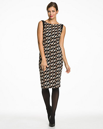 Chain Print Ponte Boat Neck Shift Dress