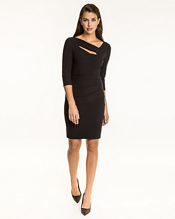 Double Weave Asymmetrical Neck Dress