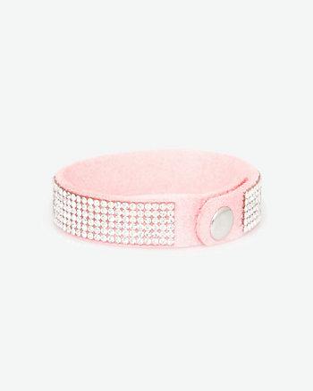 Suede-Like & Gem Snap Bracelet