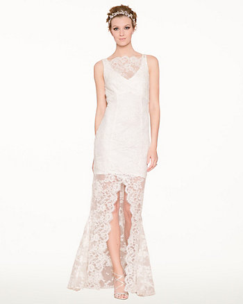 Beaded Lace Illusion Gown