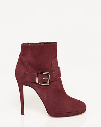 Italian-Made Suede Almond Toe Bootie