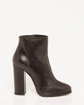 Italian-Made Leather Block Heel Bootie
