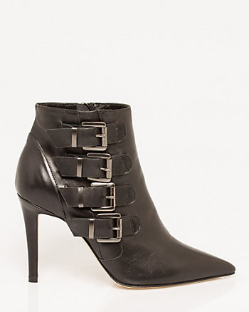 Italian-Made Leather Pointy Toe Ankle Boot