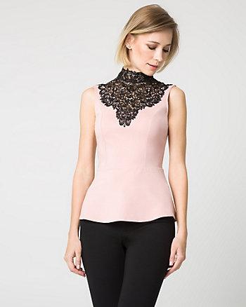 Knit & Lace Illusion Neck Top
