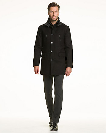 Wool Blend Melton Car Coat