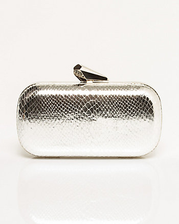Leather-Like Snakeskin Texture Minaudière