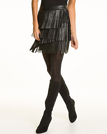 Leather-Like Fringe Mini Skirt
