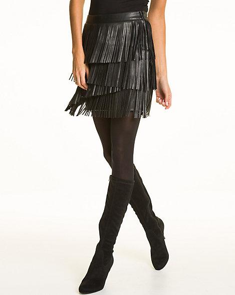 LE CHÂTEAU: Leather-Like Fringe Mini Skirt