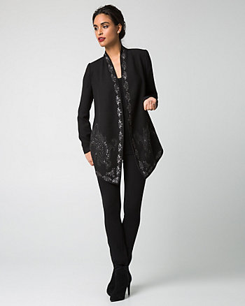 Embroidered Crêpe Open-Front Blazer