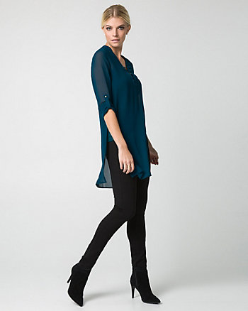 Chiffon Lace-Up V-Neck Tunic Blouse