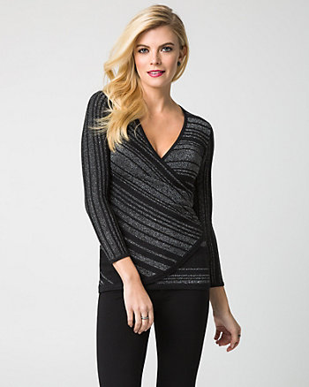 Stripe Lurex Wrap Sweater