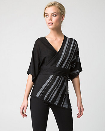 Stripe Viscose Blend Kimono Sweater