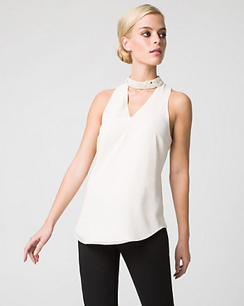 Embellished Chiffon Halter Neck Blouse