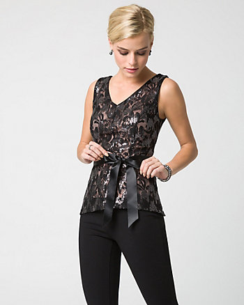 Novelty Print Lace V-Neck Top