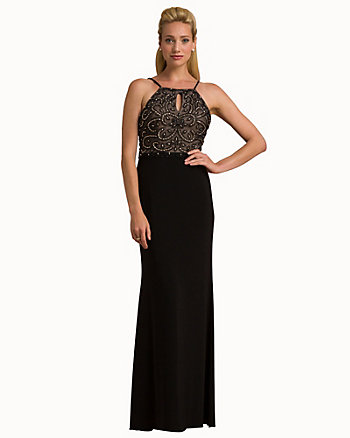 Beaded Knit Halter Neck Gown